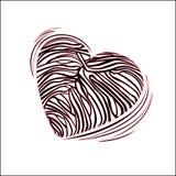 Cuore con un colore della zebra sul bianco Fotografia Stock Libera da Diritti