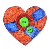 Cuore d'annata del tessuto con i bottoni verdi royalty illustrazione gratis
