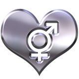 cuore d'argento 3d con i segni uniti di genere royalty illustrazione gratis