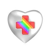 Cuore d'argento con la croce rossa dell'arcobaleno Fotografie Stock Libere da Diritti