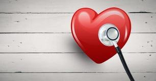 cuore 3d con il fondo di legno luminoso del aginst dello stetoscopio Immagine Stock
