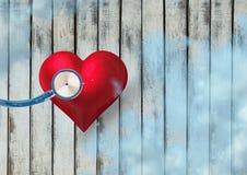 cuore 3d con lo stetoscopio Immagini Stock Libere da Diritti