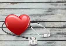 cuore 3d con lo stetoscopio Fotografia Stock