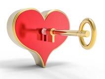 cuore 3d e fondo di chiave Immagine Stock Libera da Diritti