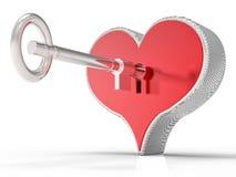 cuore 3d e fondo di chiave Immagine Stock
