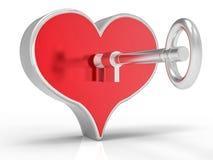 cuore 3d e fondo di chiave Immagini Stock Libere da Diritti