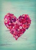 Cuore dai bottoni rossi Fotografia Stock