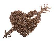 Cuore dai chicchi di caffè. Immagine Stock