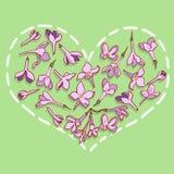 Cuore dai fiori lilla illustrazione di stock