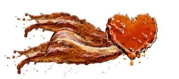 Cuore dalla spruzzata della cola con le bolle isolate su bianco Fotografia Stock Libera da Diritti