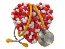 Cuore dalle pillole e dallo stetoscopio (percorso di ritaglio incluso) Fotografia Stock