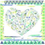 Cuore dalle piume nello stile navajo, illustrazione di vettore Fotografia Stock