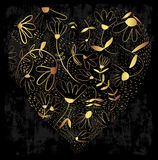 Cuore decorativo dell'oro con i fiori su un fondo grungy royalty illustrazione gratis