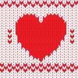 Cuore decorativo tricottato del biglietto di S. Valentino del tessuto Fotografie Stock