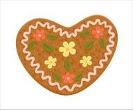 Cuore decorato del pan di zenzero Fotografie Stock