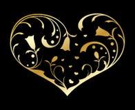 Cuore decorato dell'oro illustrazione vettoriale