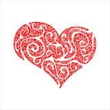 Cuore decorato rosso del biglietto di S. Valentino Fotografie Stock Libere da Diritti