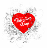 Cuore dei biglietti di S. Valentino con i fiori Immagine Stock