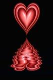 cuore dei biglietti di S. Valentino sul nero   illustrazione di stock