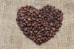Cuore dei chicchi di caffè Immagine Stock Libera da Diritti