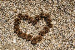 Cuore dei coni sulla spiaggia Immagine Stock Libera da Diritti