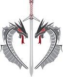 Cuore dei draghi e della spada di fantasia Fotografia Stock Libera da Diritti