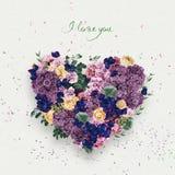 Cuore dei fiori viola il giorno dei biglietti di S. Valentino della st Immagine Stock