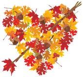 Cuore dei fogli di autunno con la freccia Immagine Stock Libera da Diritti