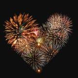 Cuore dei fuochi d'artificio Fotografia Stock