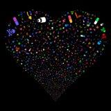 Cuore dei fuochi d'artificio dei narcotici Fotografia Stock Libera da Diritti