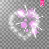 Cuore dei fuochi d'artificio luminosi del ith delle lampade su un fondo trasparente Scheda di giorno dei biglietti di S Cuore con Fotografia Stock