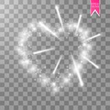 Cuore dei fuochi d'artificio luminosi del ith delle lampade su un fondo trasparente Scheda di giorno dei biglietti di S Cuore con Immagine Stock Libera da Diritti