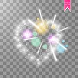 Cuore dei fuochi d'artificio luminosi del ith delle lampade su un fondo trasparente Scheda di giorno dei biglietti di S Cuore con Fotografie Stock