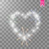 Cuore dei fuochi d'artificio luminosi del ith delle lampade su un fondo trasparente Scheda di giorno dei biglietti di S Cuore con Fotografia Stock Libera da Diritti