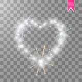 Cuore dei fuochi d'artificio luminosi del ith delle lampade su un fondo trasparente Scheda di giorno dei biglietti di S Cuore con Immagini Stock Libere da Diritti