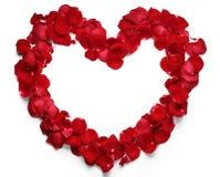 Cuore dei petali di rosa rossi Immagine Stock