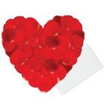 Cuore dei petali rossi e del Libro Bianco in bianco Fotografia Stock
