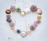 Cuore dei seashells e delle rocce Immagini Stock Libere da Diritti