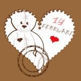 Cuore del biglietto di S. Valentino con l'orsacchiotto Immagini Stock Libere da Diritti