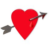 Cuore del biglietto di S. Valentino con la freccia Immagini Stock Libere da Diritti