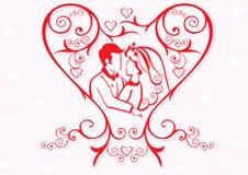 cuore del biglietto di S. Valentino con le coppie Fotografia Stock Libera da Diritti
