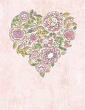 Cuore del biglietto di S. Valentino dei fiori della sorgente Immagini Stock