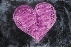 Cuore del biglietto di S. Valentino dissipato con gesso Fotografia Stock Libera da Diritti