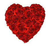 Cuore del biglietto di S. Valentino fatto dalle rose Immagine Stock