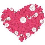 Cuore del biglietto di S. Valentino nello stile floreale Fotografie Stock Libere da Diritti