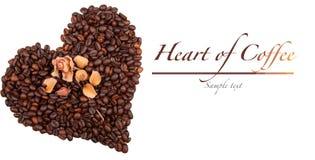Cuore del caffè isolato su bianco Fotografia Stock Libera da Diritti