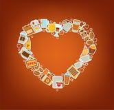 Cuore del caffè - manifesto degli elementi di scarabocchio Illustrazione di vettore Illustrazione Vettoriale
