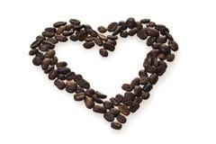 Cuore del chicco di caffè Fotografia Stock Libera da Diritti
