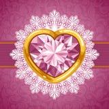 Cuore del diamante nel telaio dorato Fotografia Stock
