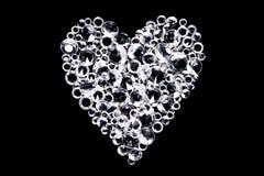 Cuore del diamante su fondo nero Immagine Stock Libera da Diritti
